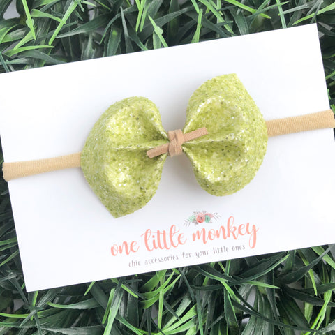 Sour Apple Glitter DARCY Bow