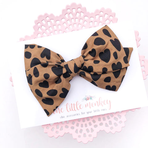 Tan Cheetah Hearts Hand-Tied MADISON Bow