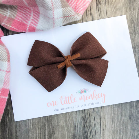 Coffee Suede KENNEDY Bow