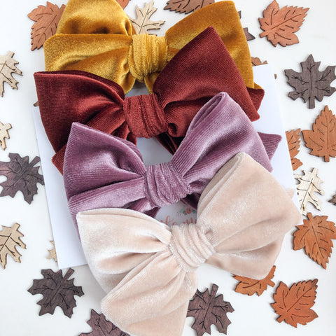 FALL20 Velvet Hand-Tied MADISON Bow - You Choose Your Color!