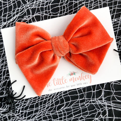 Orange Velvet Hand-Tied MADISON Bow