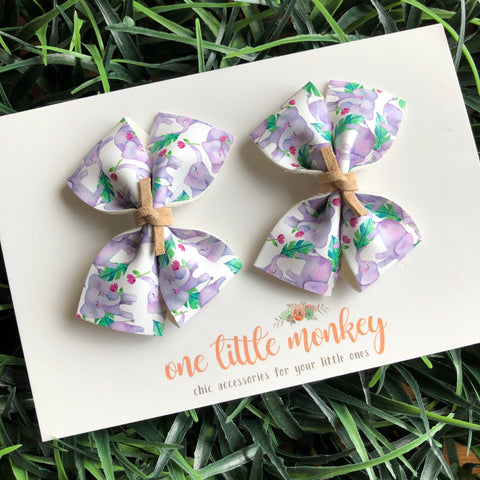 Elephants RAEGAN Bows - Set of 2 Piggy Clips