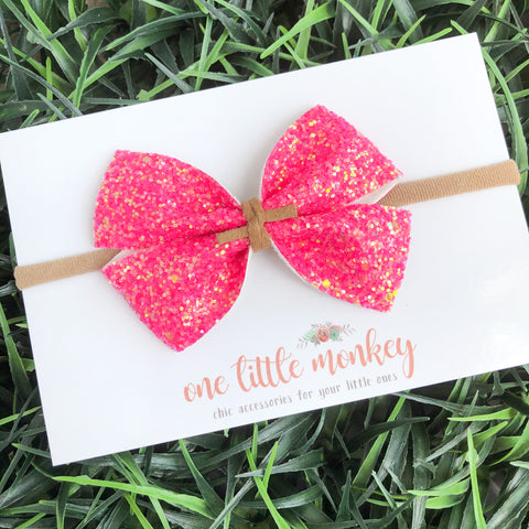Neon Pink Glitter KENNEDY Bow
