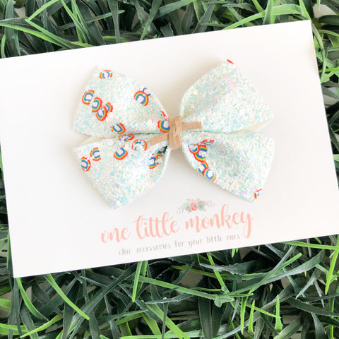 Primary Rainbow Glitter KENNEDY Bow