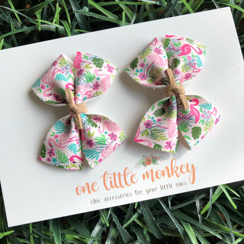 Flamingos RAEGAN Bows - Set of 2 Piggy Clips