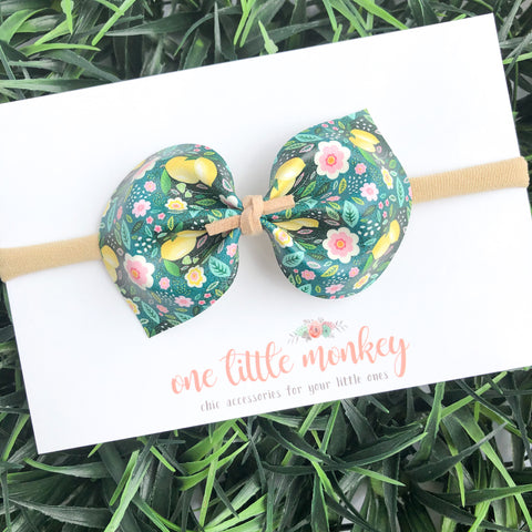 Lemon Floral DARCY Bow