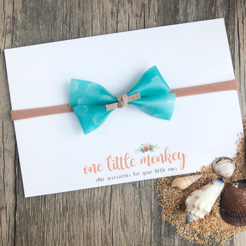 Turquoise Seashell Jelly GILLIE Bow