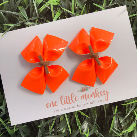 Neon Orange Patent RAEGAN Bows - Set of 2 Piggy Clips