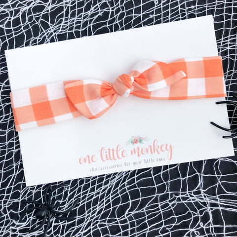 Orange Gingham RETRO KNOT Headband