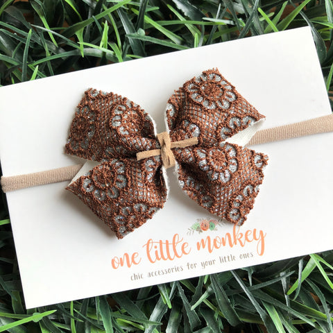 Brown Lace Macrame KENNEDY Bow