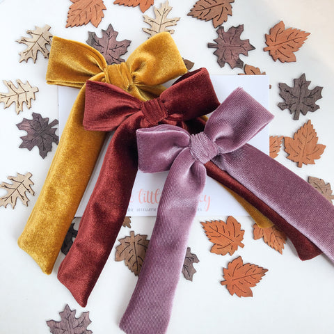 FALL20 Velvet Long Tail Hand-Tied NORAH Bow - You Choose Your Color!