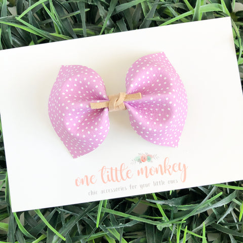 Lavender Tiny Dot Leather MILLIE Bow