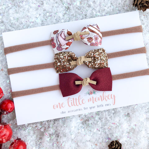 Holiday Magic IVY Bows - Set of 3 Headbands - Option 3
