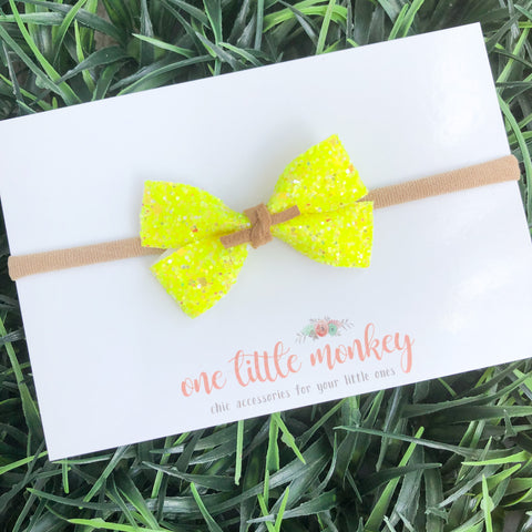 Neon Yellow Glitter GILLIE Bow