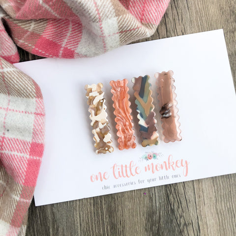Early Autumn Scalloped Acrylic SKINNY Clips - Patterned