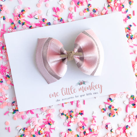Pink Velour Stripe MILLIE Bow