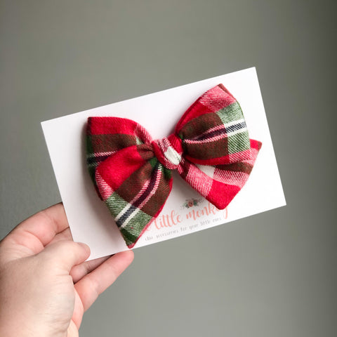 Holiday Plaid Flannel Hand-Tied MADISON Bow