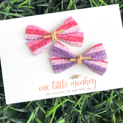 GILLIE - Set of 2 Piggy Clips - Berry Good Stripes