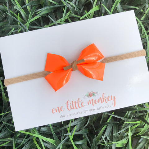 Neon Orange Patent GILLIE Bow