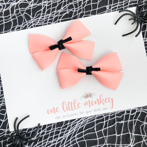 Coral Pink GILLIE - Set of 2 Piggy Clips - Glow in the Dark