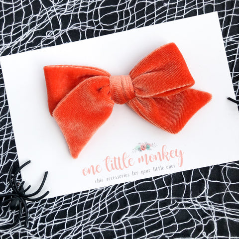 Orange Velvet Hand-Tied NORAH Bow