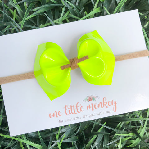 Neon Yellow Patent MILLIE Bow