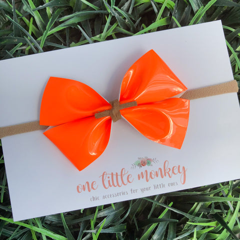 Neon Orange Patent KENNEDY Bow
