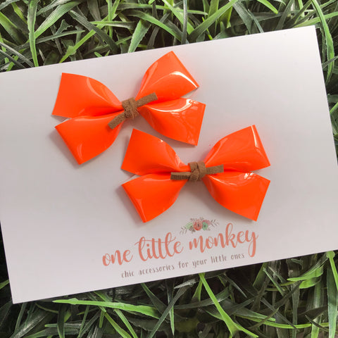 Neon Orange Patent GILLIE - Set of 2 Piggy Clips
