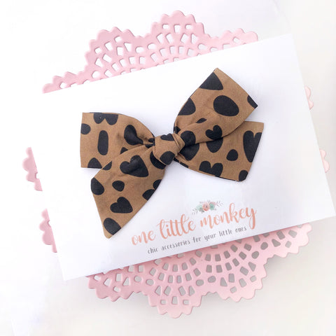 Tan Cheetah Hearts Hand-Tied NORAH Bow