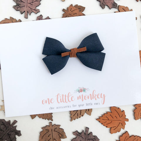 Navy Suede GILLIE Bow