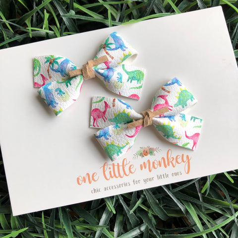 Watercolor Dinos GILLIE - Set of 2 Piggy Clips