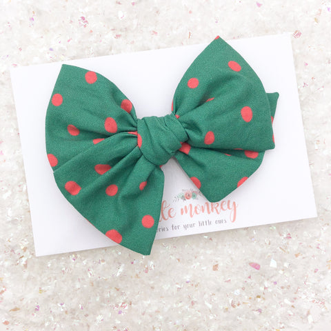 Green + Pink Dot Hand-Tied MADISON Bow