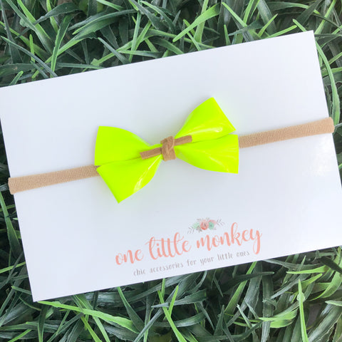 Neon Yellow Patent GILLIE Bow