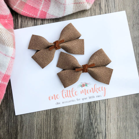 Taupe Suede GILLIE - Set of 2 Piggy Clips