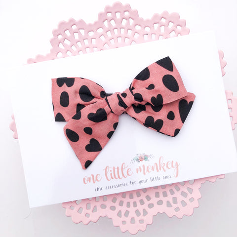 Pink Cheetah Hearts Hand-Tied NORAH Bow