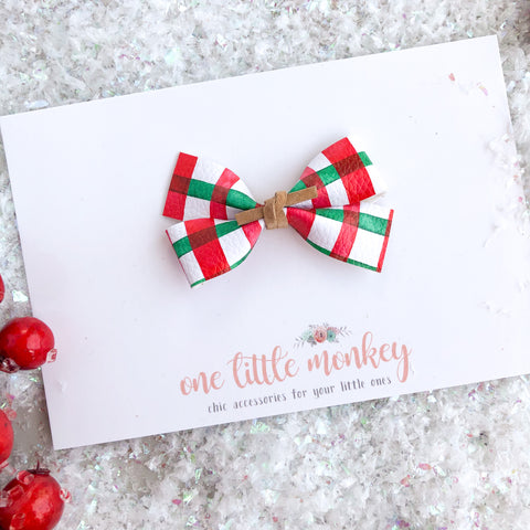 Holly Jolly Plaid GILLIE Bow