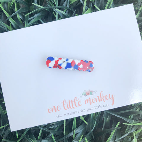 Red White + Blue Acrylic SKINNY Clip