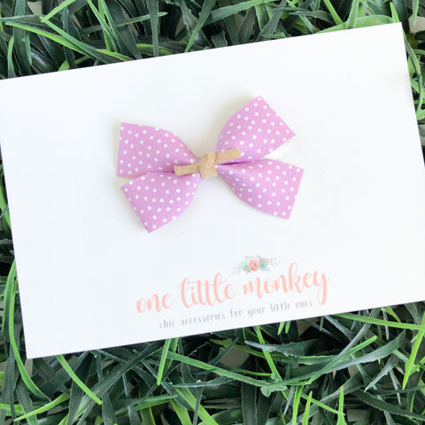 Lavender Tiny Dot Leather GILLIE Bow