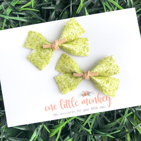 GILLIE - Set of 2 Piggy Clips - Sour Apple Glitter