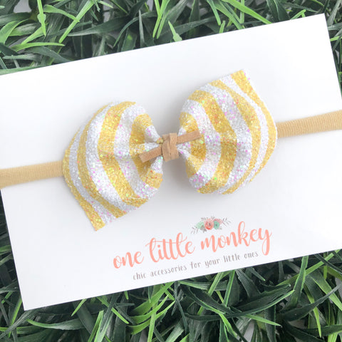 Lemon Stripe DARCY Bow