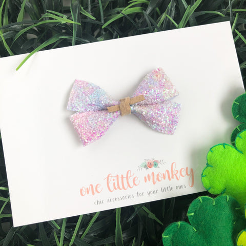 Pastel Watercolor Glitter GILLIE Bow