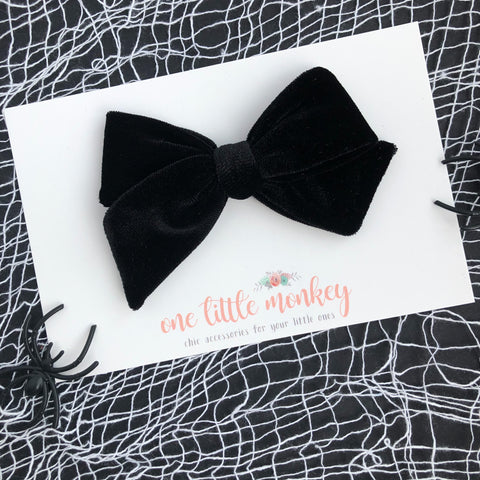Black Velvet Hand-Tied NORAH Bow