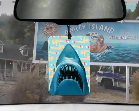 Jaws Shark car Air Freshener  | Amity Island beach scented gifts for him Boyfriend gift for 70s blockbusters 80s HORROR Funny Air Fresheners