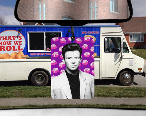 Rick Astley car Air Freshener Rickroll Cinnamon Roll scented