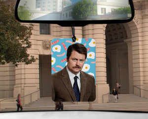 Ron Swanson car Air Freshener BACON scented Parks and Rec