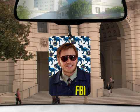 Burt Macklin FBI car Air Freshener  | scented Andy Dwyer Parks and Rec show gifts for him Boyfriend Girlfriend coworker gifts Recreation