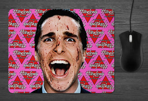 American Psycho Mouse Pad  | dab mat Christian Bale horror lover gifts for HIM serial killer fans Huey Lewis Patrick Bateman mousepad dabmat