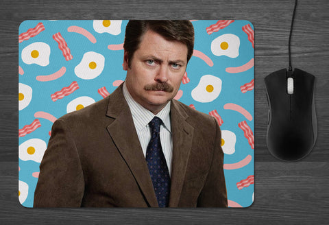Ron Swanson Mouse pad  | Dab Mat Parks and Recreation Bacon Eggs tv show gift for him manly gifts Pawnee boyfriend dad fathers day ideas