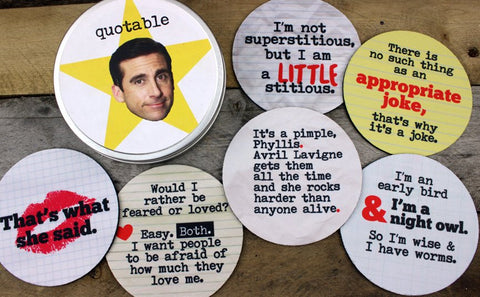 Michael Scott Quotes Coaster Set That's What she Said quotable the Office best boss ever Dunder Mifflin tv show gifts for silly people
