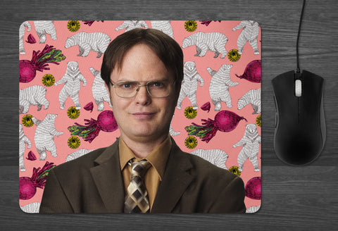 Dwight Schrute the Office Mouse Pad  | Dab Mat the Office tv show gifts Bears Beets Battlestar Galactica coworker gifts Dunder Mifflin